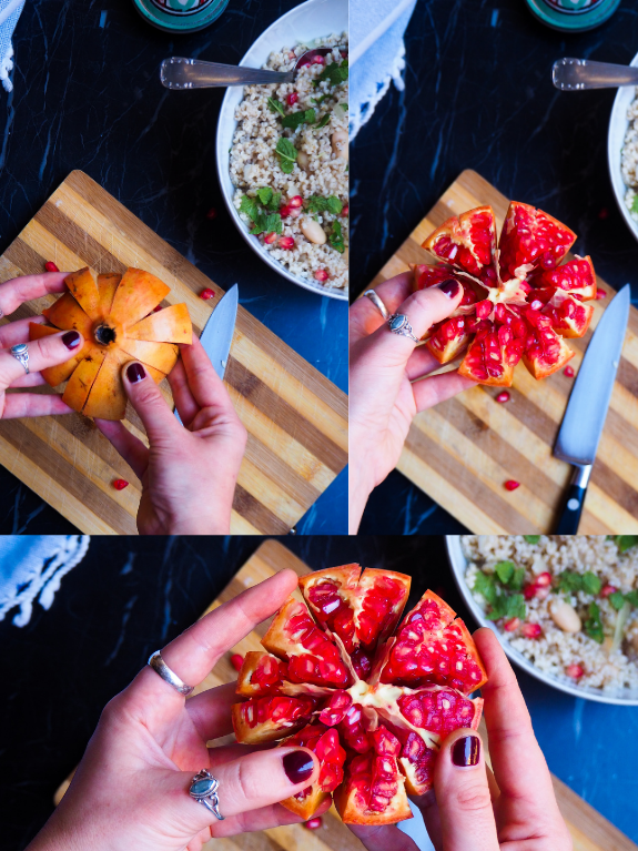 three photos of how to peel the pomegranate to get the seeds out